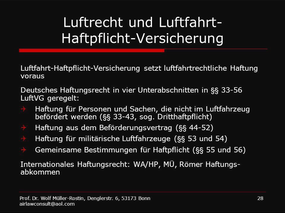 Prof. Dr. Wolf Müller-Rostin, Denglerstr. 6, 53173 Bonn airlawconsult@aol.com 28 Luftrecht und Luftfahrt- Haftpflicht-Versicherung Luftfahrt-Haftpflic