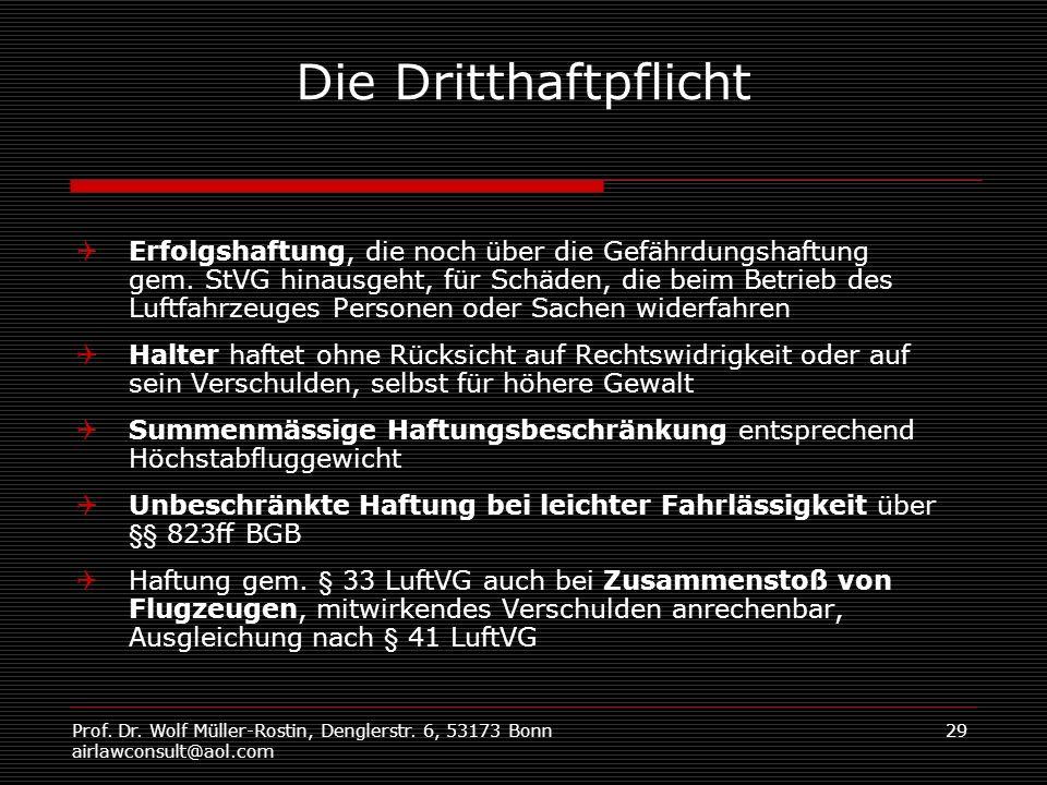 Prof. Dr. Wolf Müller-Rostin, Denglerstr. 6, 53173 Bonn airlawconsult@aol.com 29 Die Dritthaftpflicht Erfolgshaftung, die noch über die Gefährdungshaf