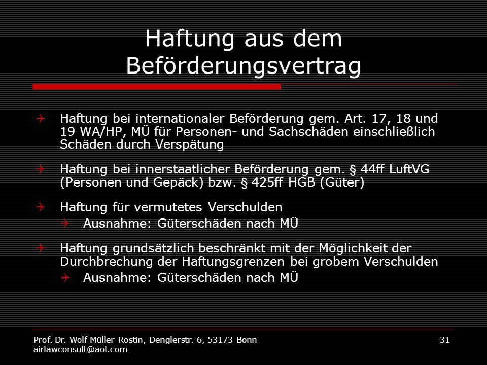 Prof. Dr. Wolf Müller-Rostin, Denglerstr. 6, 53173 Bonn airlawconsult@aol.com 31 Haftung aus dem Beförderungsvertrag Haftung bei internationaler Beför