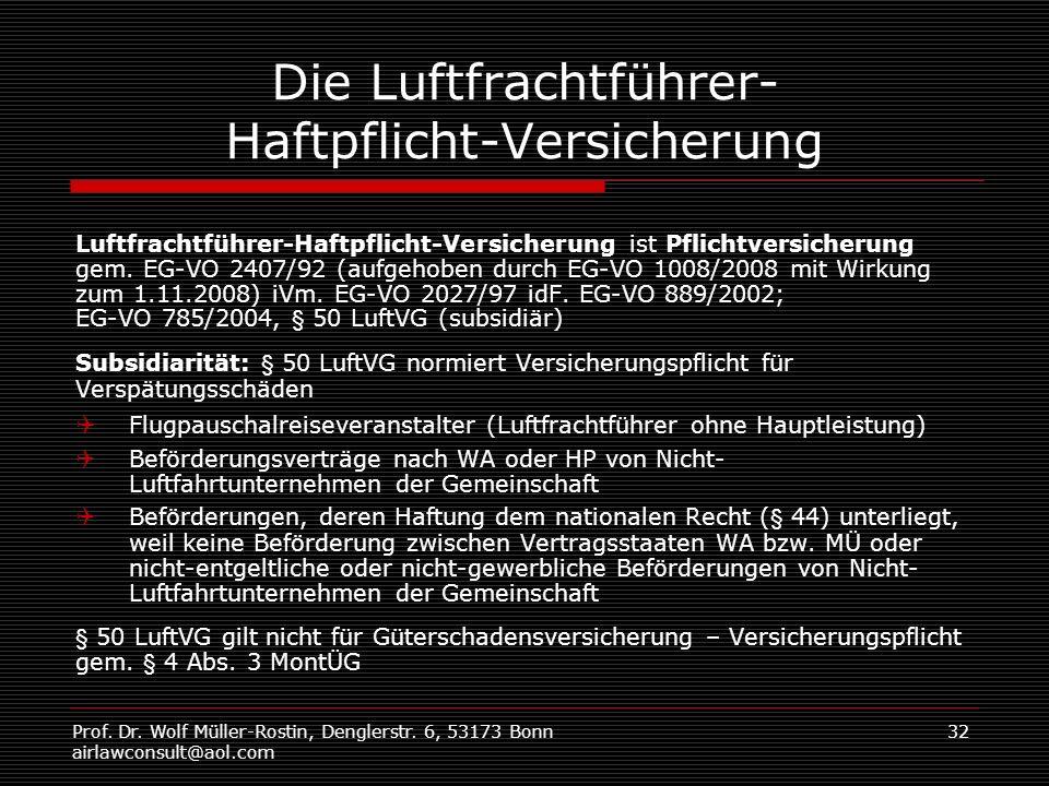 Prof. Dr. Wolf Müller-Rostin, Denglerstr. 6, 53173 Bonn airlawconsult@aol.com 32 Die Luftfrachtführer- Haftpflicht-Versicherung Luftfrachtführer-Haftp