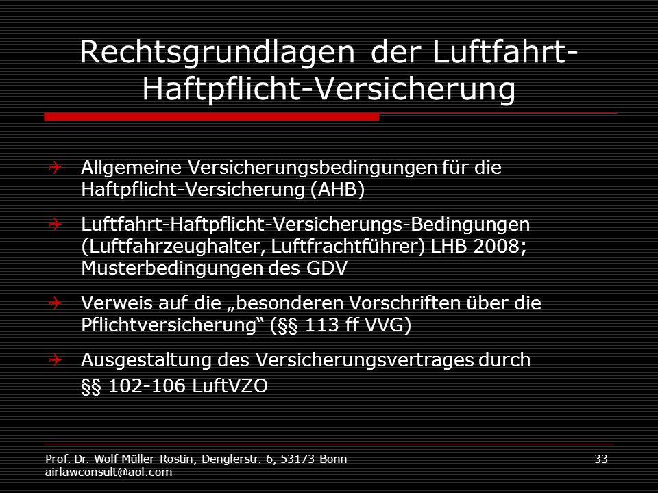 Prof. Dr. Wolf Müller-Rostin, Denglerstr. 6, 53173 Bonn airlawconsult@aol.com 33 Rechtsgrundlagen der Luftfahrt- Haftpflicht-Versicherung Allgemeine V