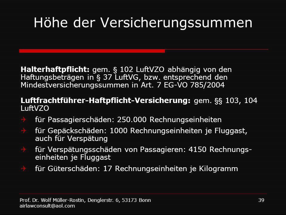 Prof. Dr. Wolf Müller-Rostin, Denglerstr. 6, 53173 Bonn airlawconsult@aol.com 39 Höhe der Versicherungssummen Halterhaftpflicht: gem. § 102 LuftVZO ab