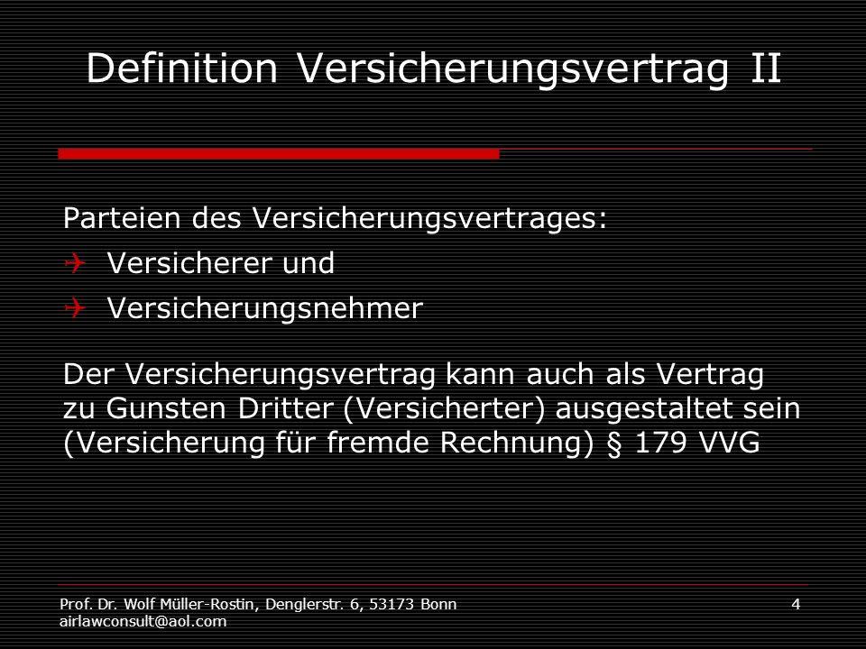Prof. Dr. Wolf Müller-Rostin, Denglerstr. 6, 53173 Bonn airlawconsult@aol.com 4 Definition Versicherungsvertrag II Parteien des Versicherungsvertrages