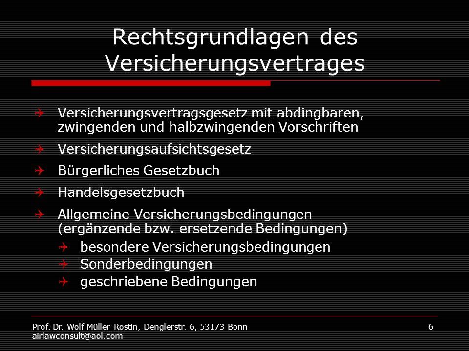 Prof. Dr. Wolf Müller-Rostin, Denglerstr. 6, 53173 Bonn airlawconsult@aol.com 6 Rechtsgrundlagen des Versicherungsvertrages Versicherungsvertragsgeset