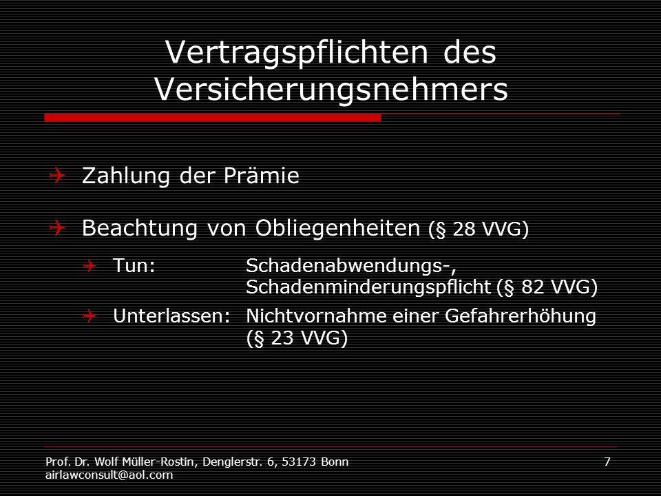 Prof. Dr. Wolf Müller-Rostin, Denglerstr. 6, 53173 Bonn airlawconsult@aol.com 7 Vertragspflichten des Versicherungsnehmers Zahlung der Prämie Beachtun