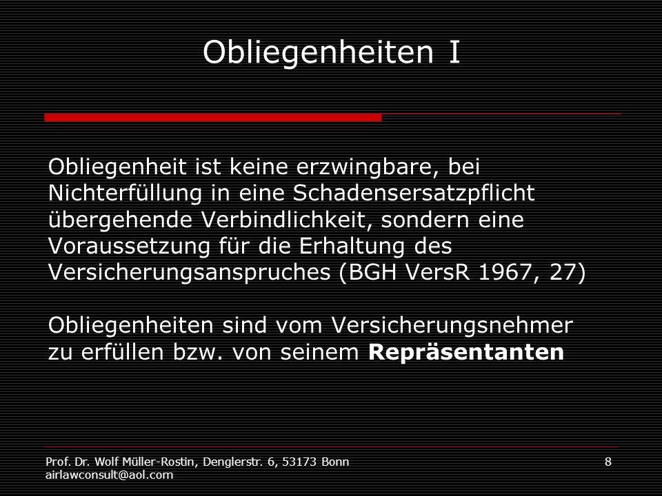 Prof. Dr. Wolf Müller-Rostin, Denglerstr. 6, 53173 Bonn airlawconsult@aol.com 8 Obliegenheiten I Obliegenheit ist keine erzwingbare, bei Nichterfüllun