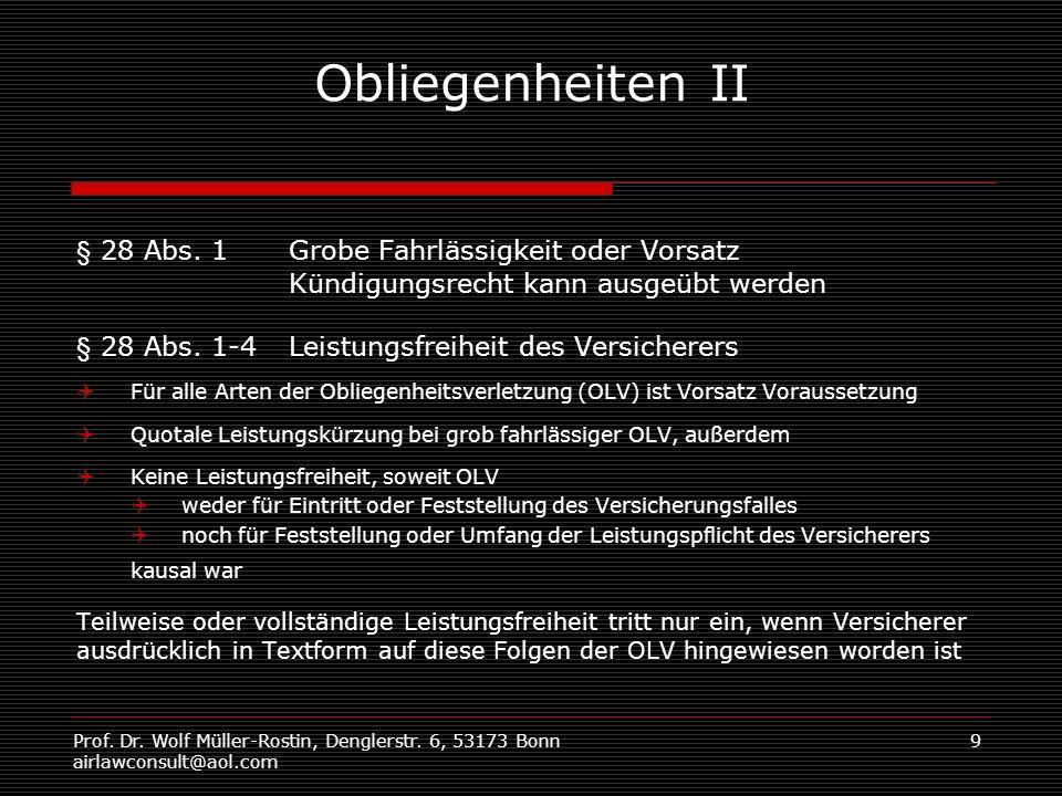 Prof. Dr. Wolf Müller-Rostin, Denglerstr. 6, 53173 Bonn airlawconsult@aol.com 9 Obliegenheiten II § 28 Abs. 1Grobe Fahrlässigkeit oder Vorsatz Kündigu
