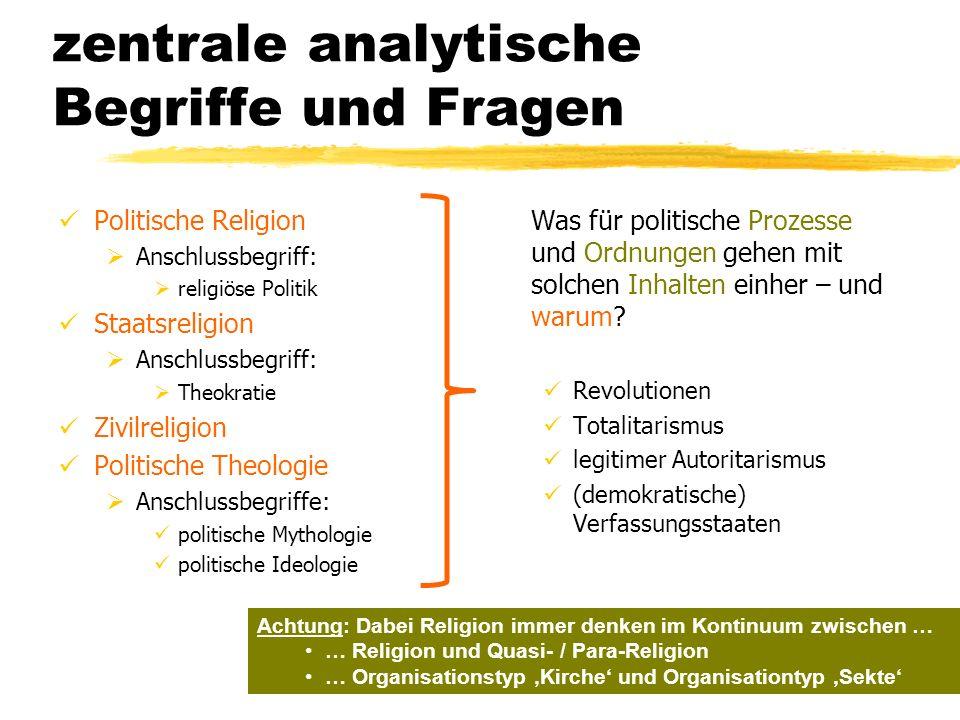 zentrale analytische Begriffe und Fragen Politische Religion Anschlussbegriff: religiöse Politik Staatsreligion Anschlussbegriff: Theokratie Zivilreli