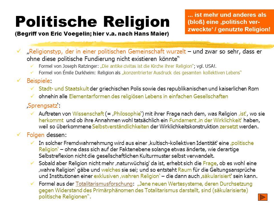 TU Dresden - Institut für Politikwissenschaft - Prof. Dr. Werner J. Patzelt Politische Religion (Begriff von Eric Voegelin; hier v.a. nach Hans Maier)