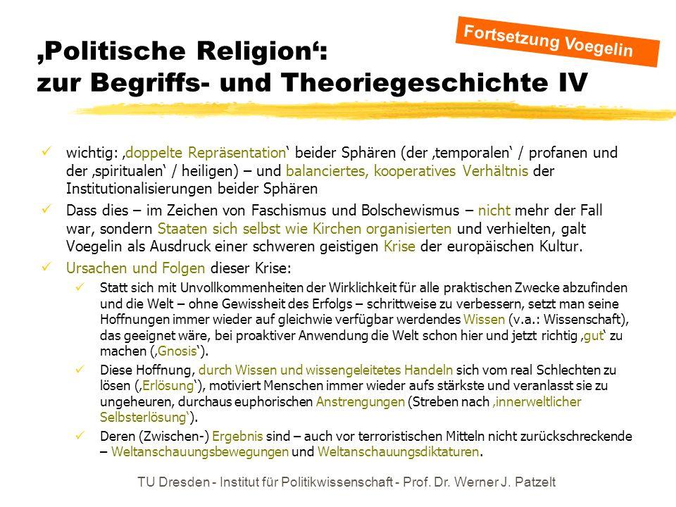TU Dresden - Institut für Politikwissenschaft - Prof. Dr. Werner J. Patzelt Politische Religion: zur Begriffs- und Theoriegeschichte IV wichtig: doppe
