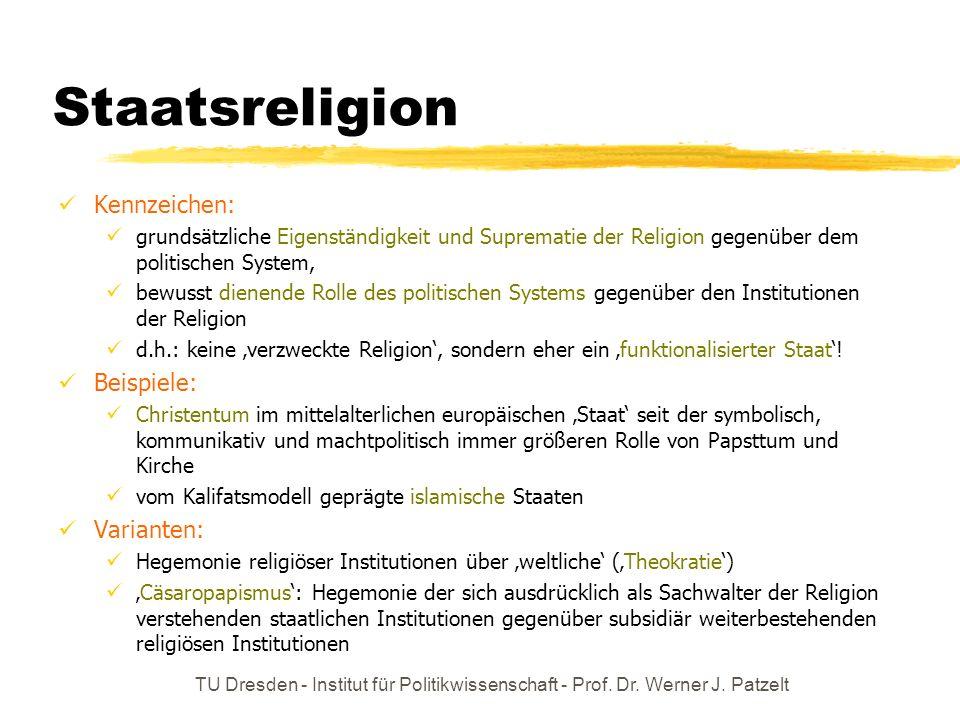 TU Dresden - Institut für Politikwissenschaft - Prof. Dr. Werner J. Patzelt Staatsreligion Kennzeichen: grundsätzliche Eigenständigkeit und Suprematie