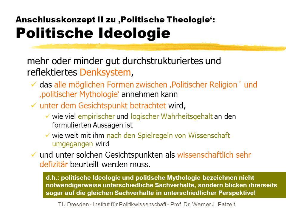 TU Dresden - Institut für Politikwissenschaft - Prof. Dr. Werner J. Patzelt Anschlusskonzept II zu Politische Theologie: Politische Ideologie mehr ode