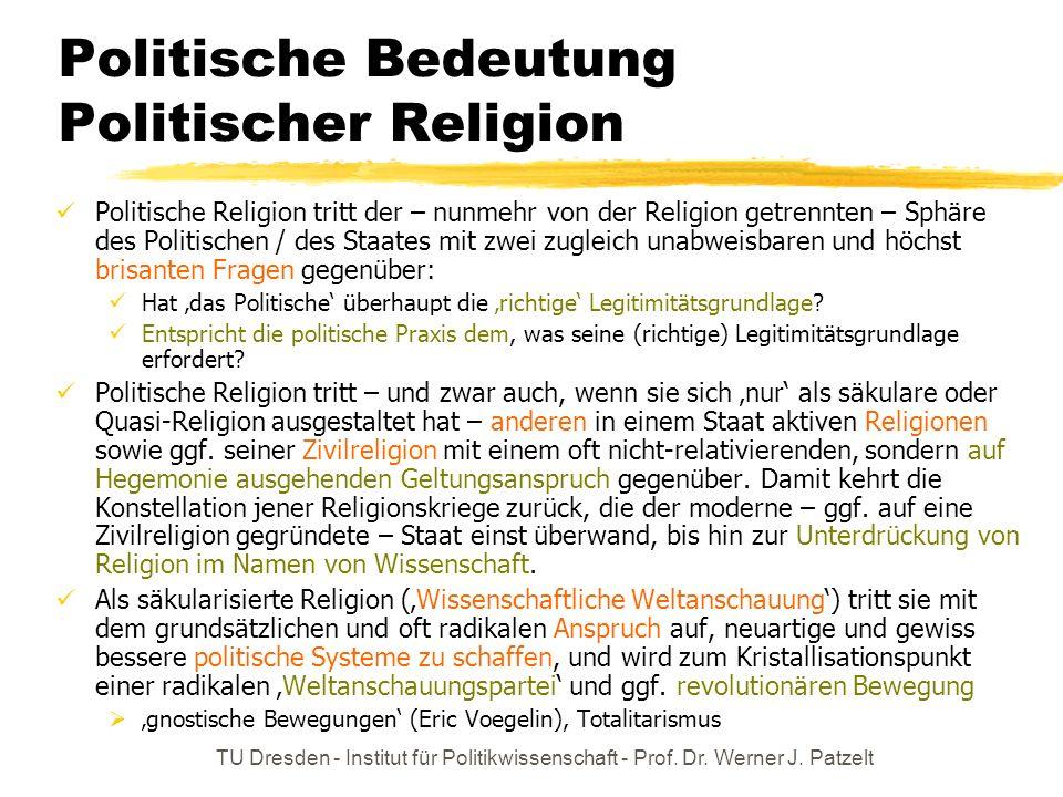 TU Dresden - Institut für Politikwissenschaft - Prof. Dr. Werner J. Patzelt Politische Bedeutung Politischer Religion Politische Religion tritt der –