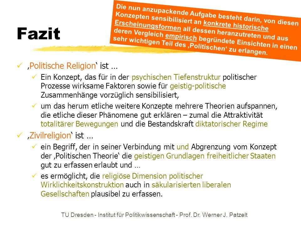 TU Dresden - Institut für Politikwissenschaft - Prof. Dr. Werner J. Patzelt Fazit Politische Religion ist … Ein Konzept, das für in der psychischen Ti