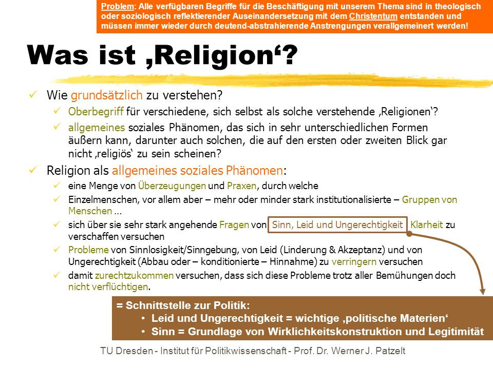 TU Dresden - Institut für Politikwissenschaft - Prof. Dr. Werner J. Patzelt Was ist Religion? Wie grundsätzlich zu verstehen? Oberbegriff für verschie