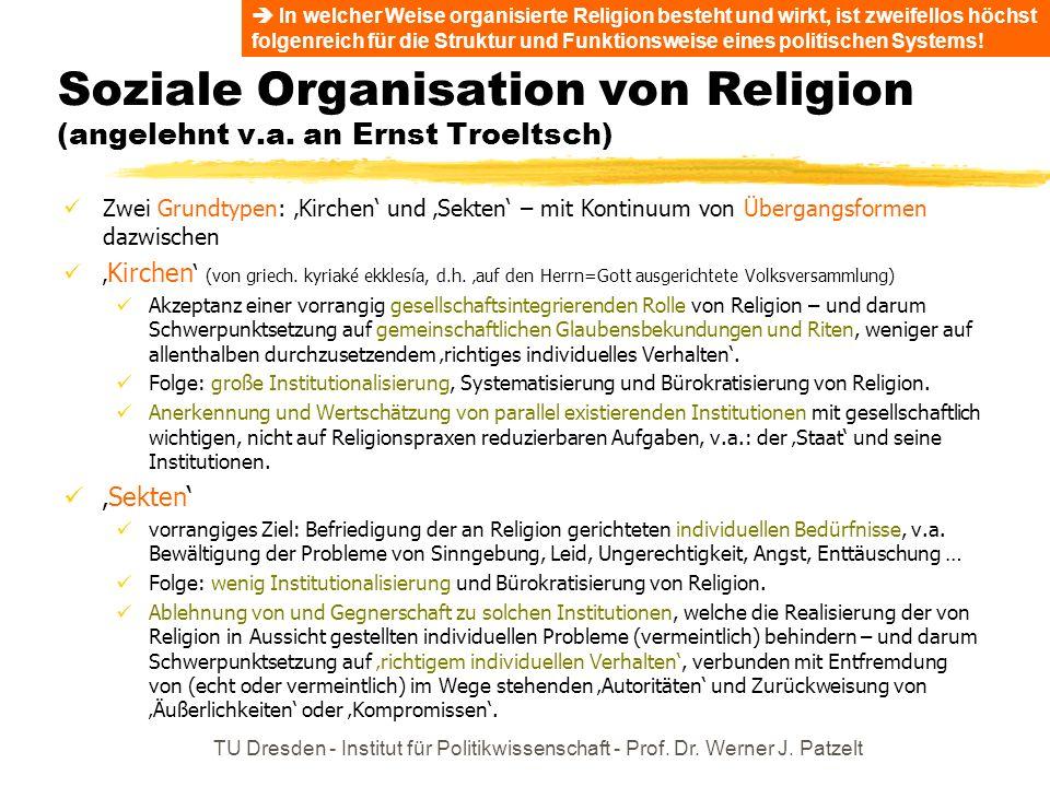 TU Dresden - Institut für Politikwissenschaft - Prof. Dr. Werner J. Patzelt Soziale Organisation von Religion (angelehnt v.a. an Ernst Troeltsch) Zwei
