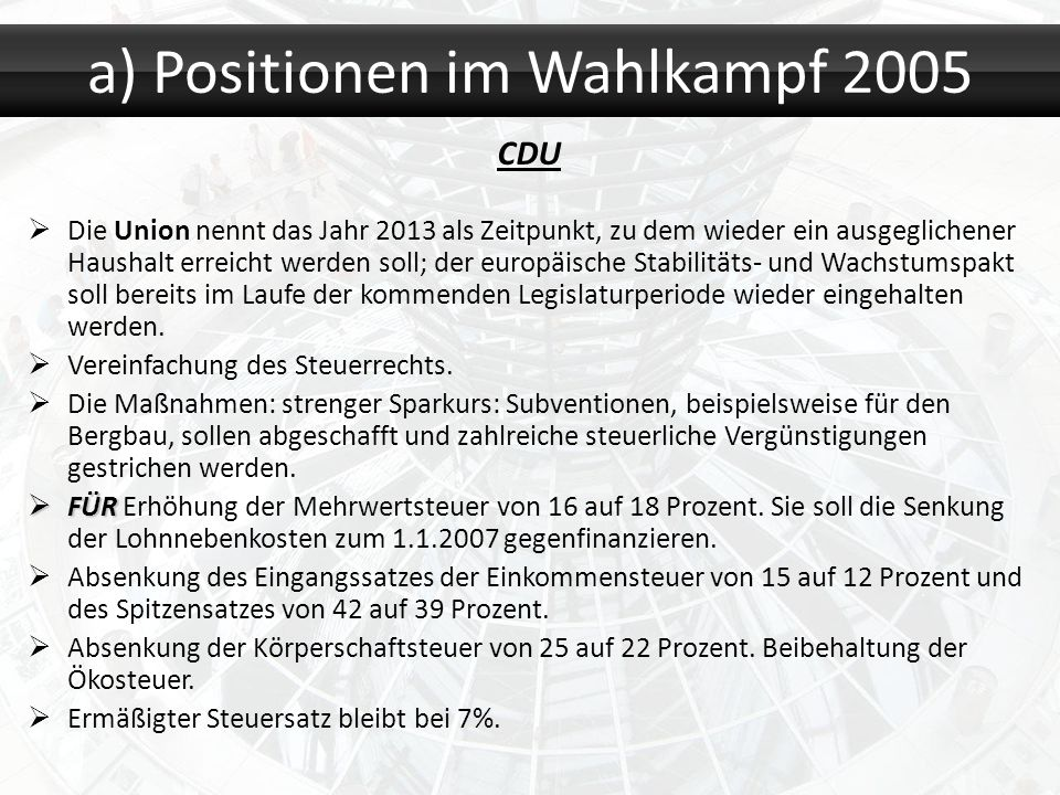 CDU Die Union nennt das Jahr 2013 als Zeitpunkt, zu dem wieder ein ausgeglichener Haushalt erreicht werden soll; der europäische Stabilitäts- und Wach