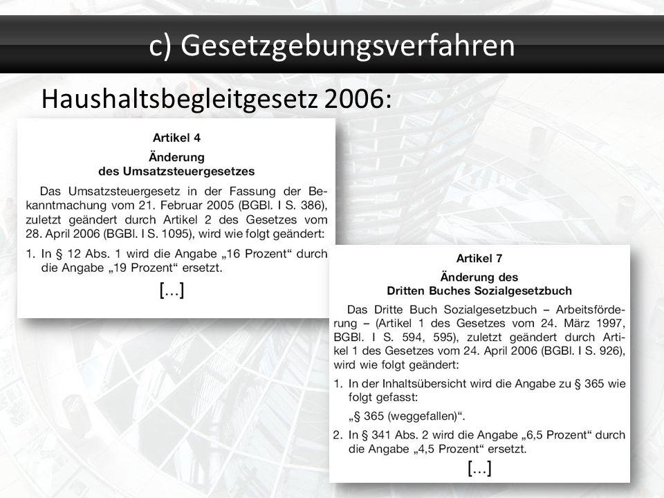 Haushaltsbegleitgesetz 2006: c) Gesetzgebungsverfahren
