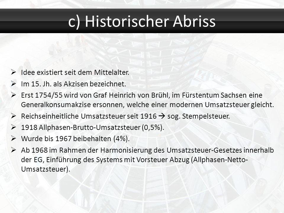 Idee existiert seit dem Mittelalter. Im 15. Jh. als Akzisen bezeichnet. Erst 1754/55 wird von Graf Heinrich von Brühl, im Fürstentum Sachsen eine Gene