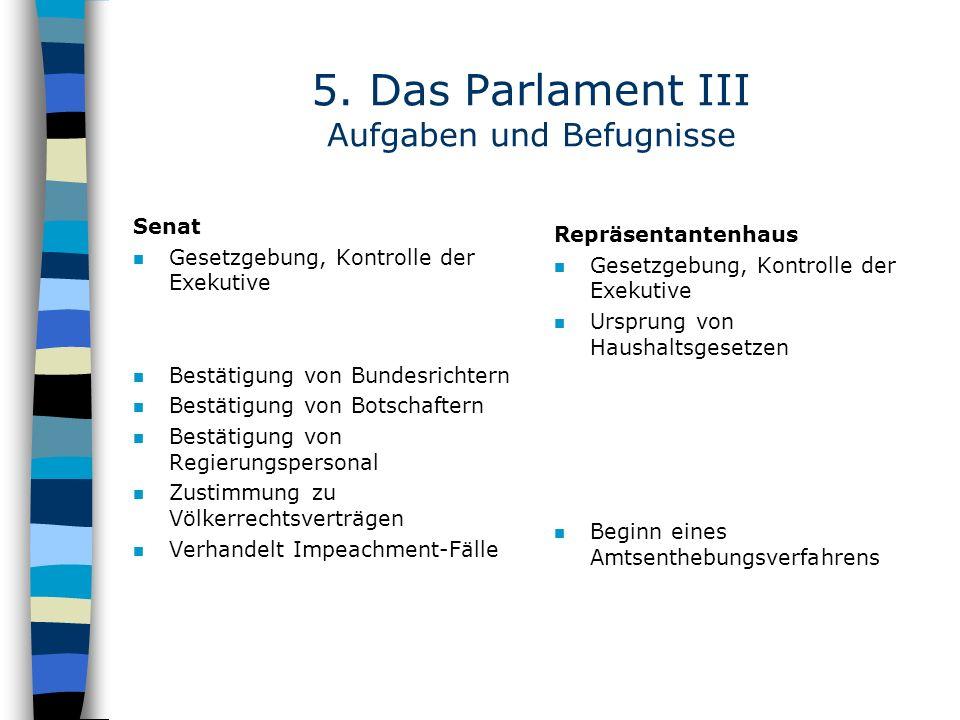 5. Das Parlament III Aufgaben und Befugnisse Senat n Gesetzgebung, Kontrolle der Exekutive n Bestätigung von Bundesrichtern n Bestätigung von Botschaf