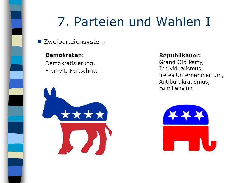 Demokraten: Demokratisierung, Freiheit, Fortschritt 7. Parteien und Wahlen I Republikaner: Grand Old Party, Individualismus, freies Unternehmertum, An