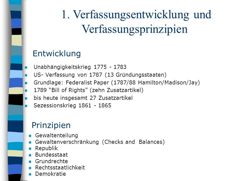 Entwicklung n Unabhängigkeitskrieg 1775 - 1783 n US- Verfassung von 1787 (13 Gründungsstaaten) n Grundlage: Federalist Paper (1787/88 Hamilton/Madison
