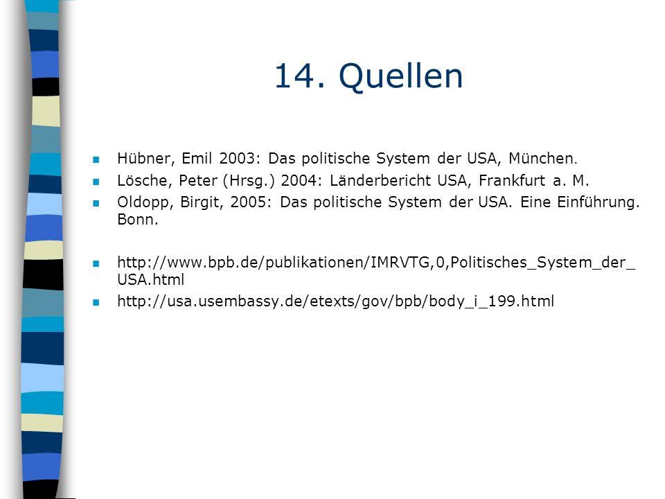 14. Quellen Hübner, Emil 2003: Das politische System der USA, München. n Lösche, Peter (Hrsg.) 2004: Länderbericht USA, Frankfurt a. M. n Oldopp, Birg