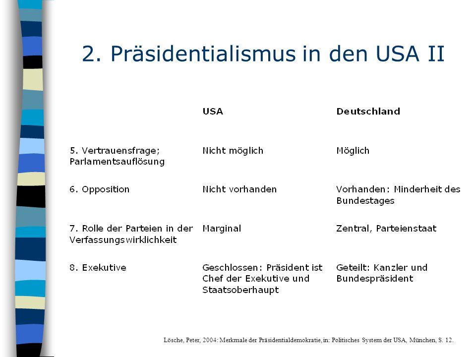 2. Präsidentialismus in den USA II Lösche, Peter, 2004: Merkmale der Präsidentialdemokratie, in: Politisches System der USA, München, S. 12.
