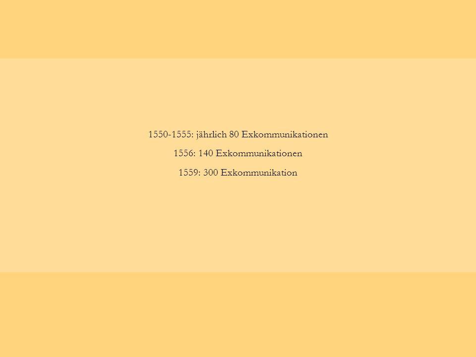 1550-1555: jährlich 80 Exkommunikationen 1556: 140 Exkommunikationen 1559: 300 Exkommunikation