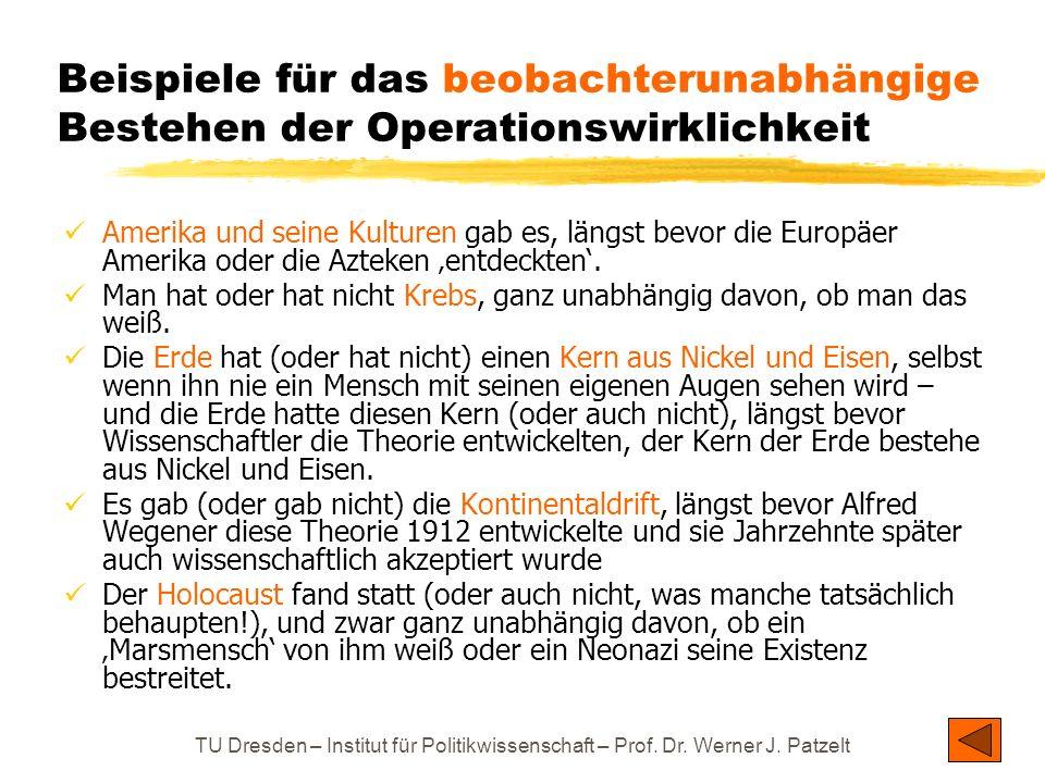 TU Dresden – Institut für Politikwissenschaft – Prof. Dr. Werner J. Patzelt Beispiele für das beobachterunabhängige Bestehen der Operationswirklichkei