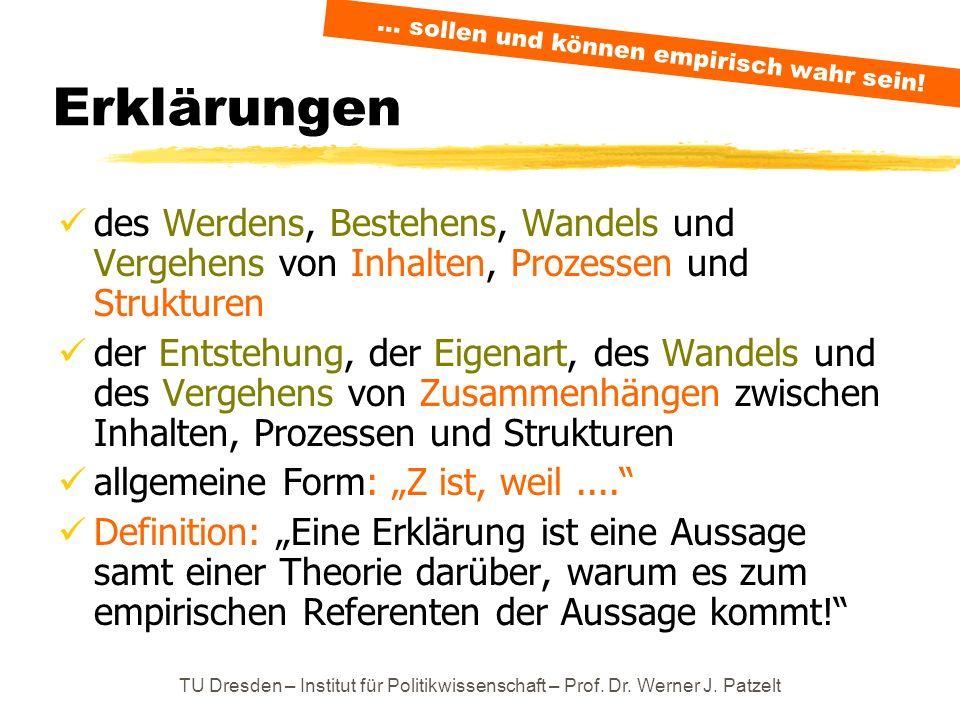 TU Dresden – Institut für Politikwissenschaft – Prof. Dr. Werner J. Patzelt Erklärungen des Werdens, Bestehens, Wandels und Vergehens von Inhalten, Pr