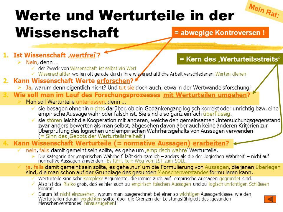 TU Dresden – Institut für Politikwissenschaft – Prof. Dr. Werner J. Patzelt Werte und Werturteile in der Wissenschaft = abwegige Kontroversen ! Mein R