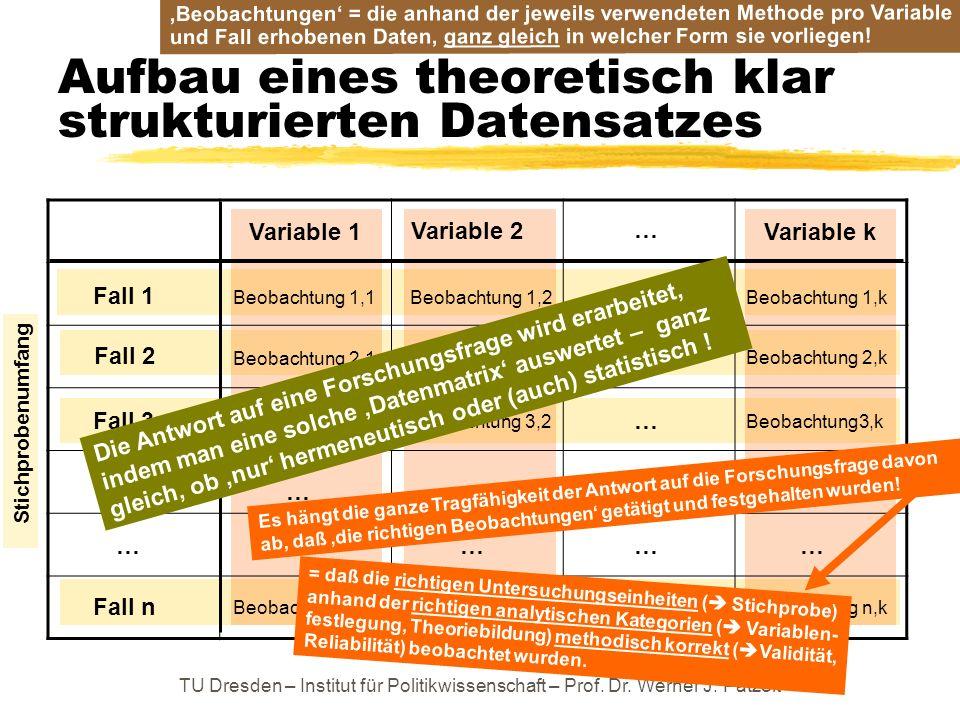 TU Dresden – Institut für Politikwissenschaft – Prof. Dr. Werner J. Patzelt Aufbau eines theoretisch klar strukturierten Datensatzes Fall 1 Fall 3 Fal