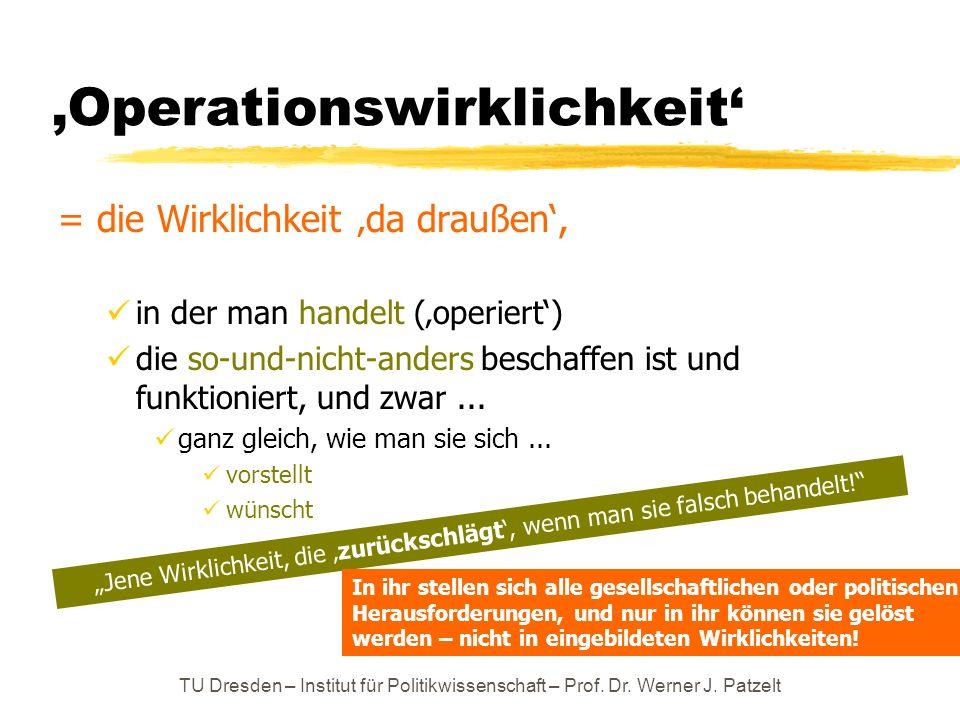 TU Dresden – Institut für Politikwissenschaft – Prof. Dr. Werner J. Patzelt Operationswirklichkeit = die Wirklichkeit da draußen, in der man handelt (