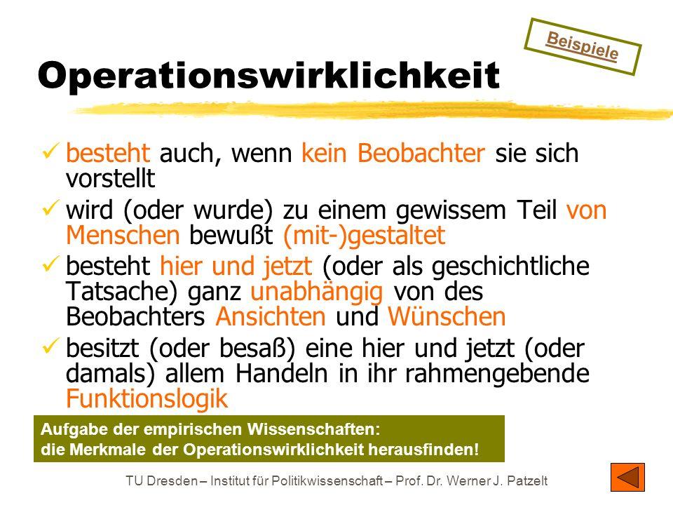 TU Dresden – Institut für Politikwissenschaft – Prof. Dr. Werner J. Patzelt Operationswirklichkeit besteht auch, wenn kein Beobachter sie sich vorstel