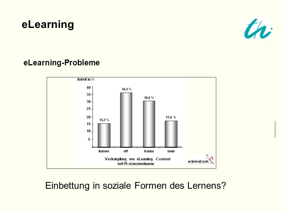 eLearning-Probleme eLearning Einbettung in soziale Formen des Lernens?