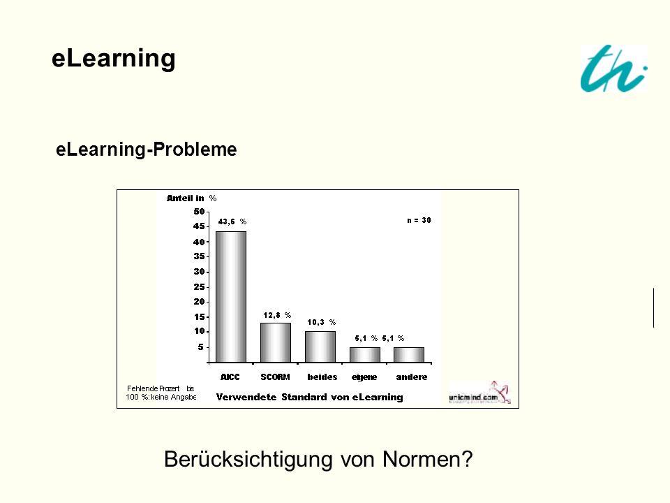 eLearning-Probleme eLearning Berücksichtigung von Normen?