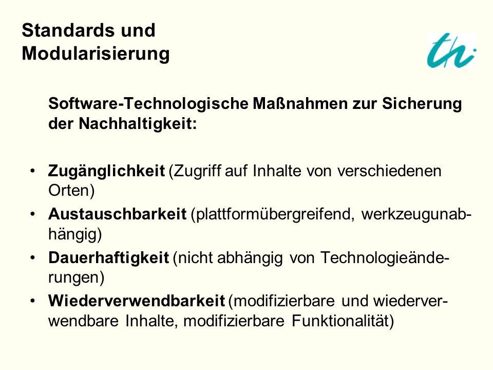 Software-Technologische Maßnahmen zur Sicherung der Nachhaltigkeit: Zugänglichkeit (Zugriff auf Inhalte von verschiedenen Orten) Austauschbarkeit (pla