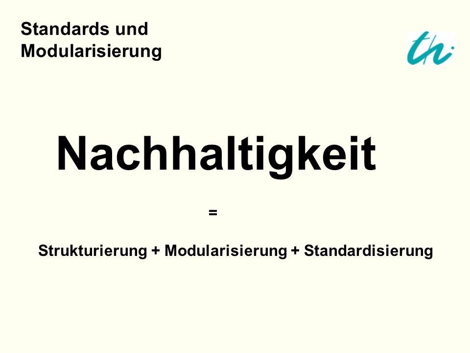 Nachhaltigkeit = Strukturierung + Modularisierung + Standardisierung Standards und Modularisierung