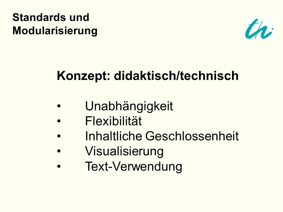 Konzept: didaktisch/technisch Unabhängigkeit Flexibilität Inhaltliche Geschlossenheit Visualisierung Text-Verwendung