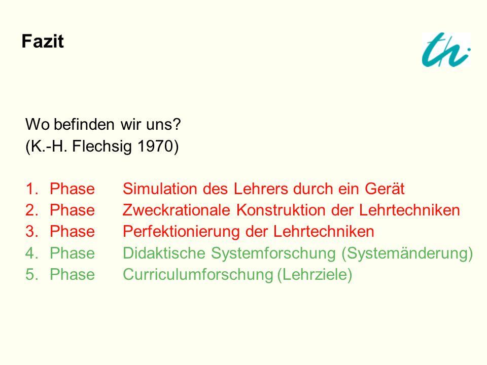 Fazit Wo befinden wir uns? (K.-H. Flechsig 1970) 1.PhaseSimulation des Lehrers durch ein Gerät 2.PhaseZweckrationale Konstruktion der Lehrtechniken 3.