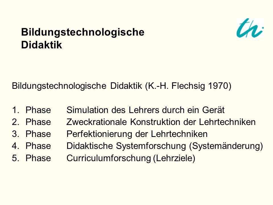 Bildungstechnologische Didaktik (K.-H. Flechsig 1970) 1.PhaseSimulation des Lehrers durch ein Gerät 2.PhaseZweckrationale Konstruktion der Lehrtechnik