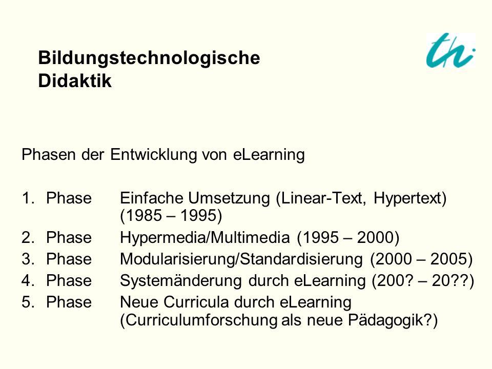 Phasen der Entwicklung von eLearning 1.PhaseEinfache Umsetzung (Linear-Text, Hypertext) (1985 – 1995) 2.PhaseHypermedia/Multimedia (1995 – 2000) 3.Pha