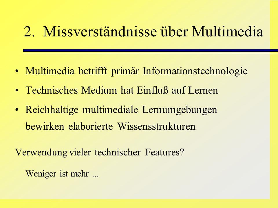 2. Missverständnisse über Multimedia Multimedia betrifft primär Informationstechnologie Technisches Medium hat Einfluß auf Lernen Reichhaltige multime