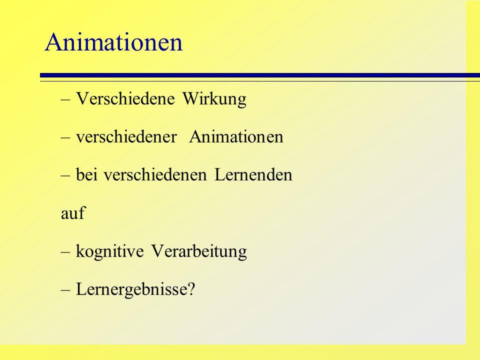 Animationen –Verschiedene Wirkung –verschiedener Animationen –bei verschiedenen Lernenden auf –kognitive Verarbeitung –Lernergebnisse?