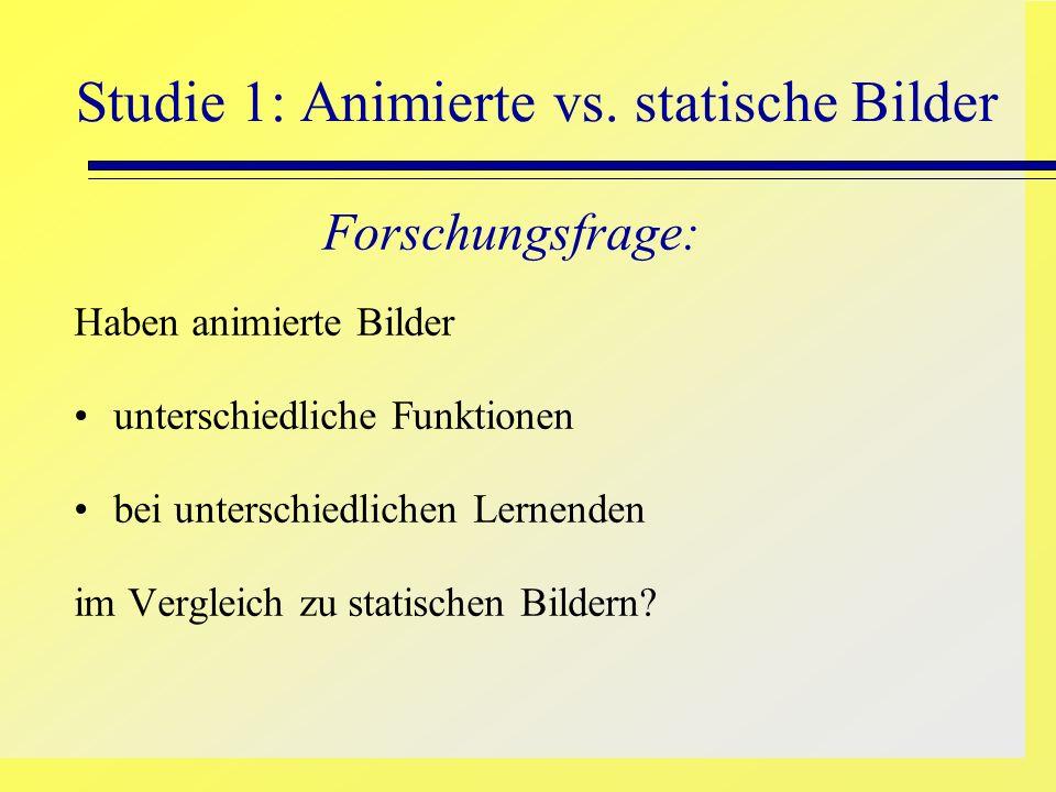 Studie 1: Animierte vs. statische Bilder Forschungsfrage: Haben animierte Bilder unterschiedliche Funktionen bei unterschiedlichen Lernenden im Vergle