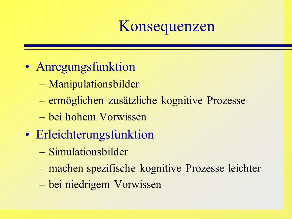 Anregungsfunktion –Manipulationsbilder –ermöglichen zusätzliche kognitive Prozesse –bei hohem Vorwissen Erleichterungsfunktion –Simulationsbilder –mac