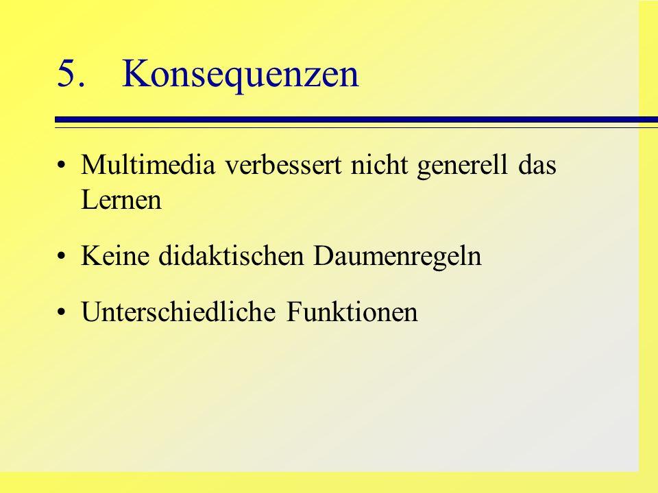 5. Konsequenzen Multimedia verbessert nicht generell das Lernen Keine didaktischen Daumenregeln Unterschiedliche Funktionen