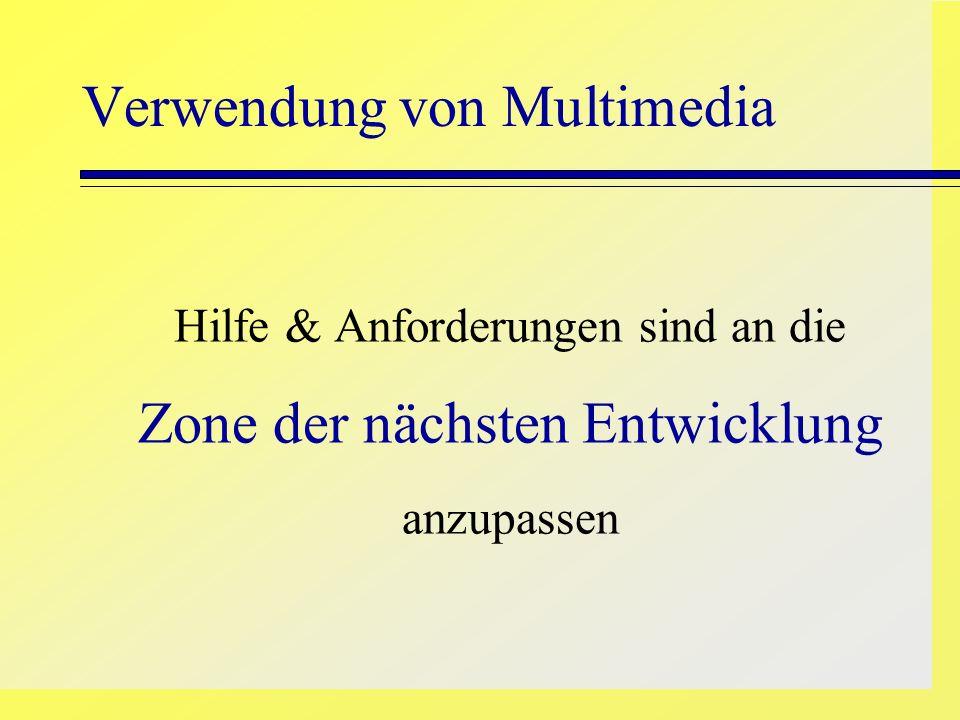 Verwendung von Multimedia Hilfe & Anforderungen sind an die Zone der nächsten Entwicklung anzupassen