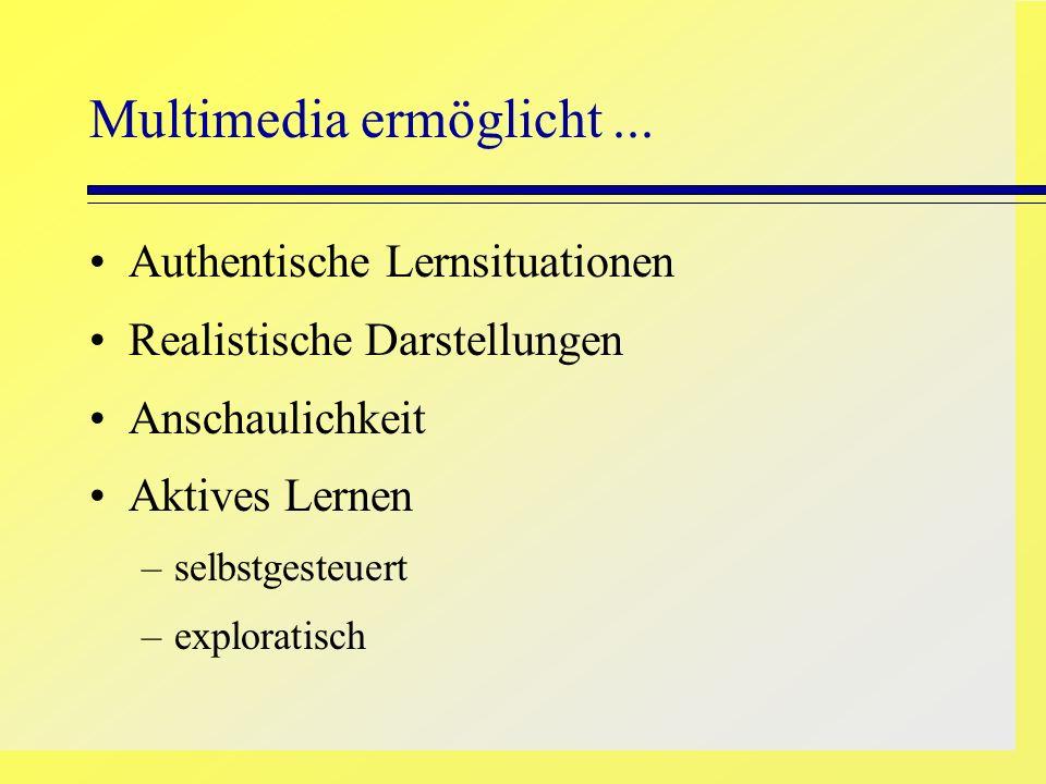 Multimedia ermöglicht... Authentische Lernsituationen Realistische Darstellungen Anschaulichkeit Aktives Lernen –selbstgesteuert –exploratisch